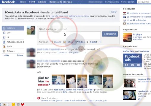 Efecto visual de circulos en Facebook